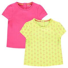 Lot de 2 tee-shirts manches courtes uni/imprimé