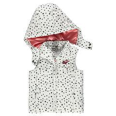 Doudoune sans manches imprimée pois à capuche amovible