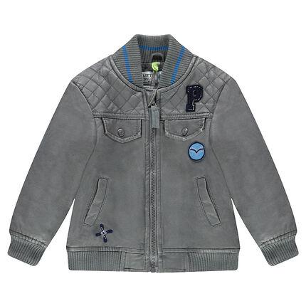 Blouson en simili cuir gris avec poches et badges fantaisie