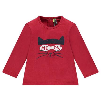 Tee-shirt manches longues en jersey avec chat printé