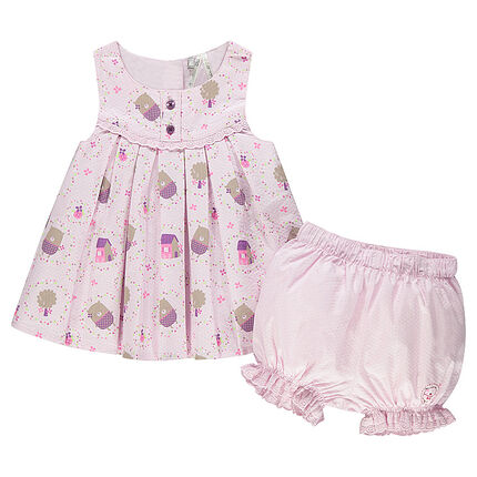 Ensemble tunique imprimée oursons all-over et bloomer