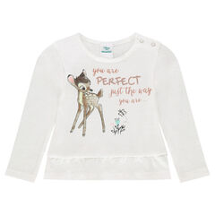 Tee-shirt manches longues volanté Disney print Bambi