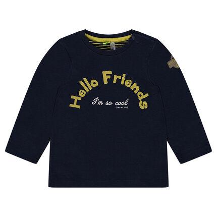 Tee-shirt manches longues en double jersey avec print