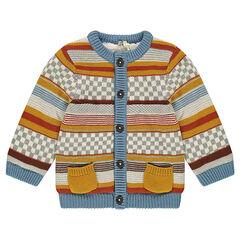 Veste en tricot doublée sherpa motif jacquard