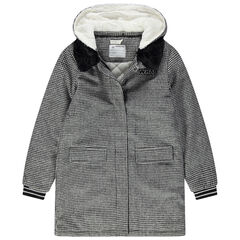Manteau en drap de laine doublé sherpa motif pied de poule