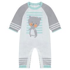 Combinaison longue en tricot avec ourson en jacquard