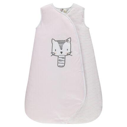 Turbulette en coton avec chat brodé