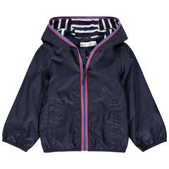 Coupe-vent bleu marine doublé jersey à rayures