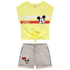 Ensemble avec t-shirt manches courtes à nouer et short print Mickey Disney