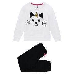 Junior - Pyjama en molleton et jersey print chat licorne