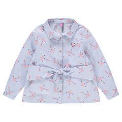 Chemise manches longues en coton avec oiseaux printés all-over