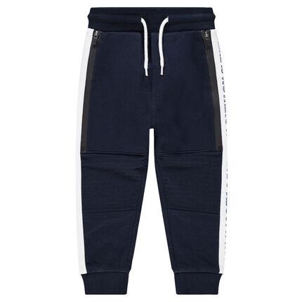 Pantalon de jogging fourche basse avec bandes contrastées
