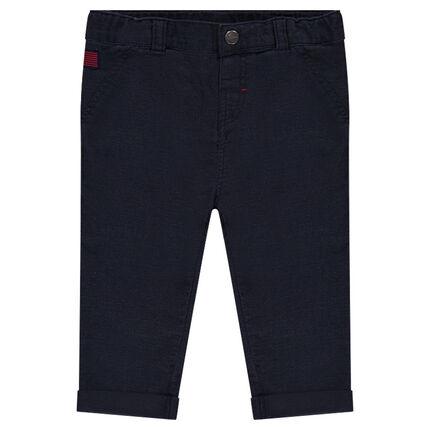 Pantalon en coton uni avec poches