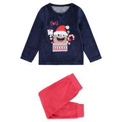 Pyjama en velours bicolore avec monstre de Noël printé