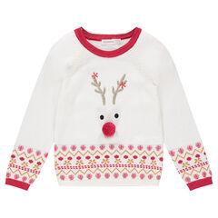 Pull de Noël en tricot avec renne en sequins et motifs en jacquard