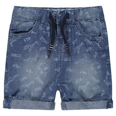 Bermuda en jeans effet used avec motifs animaux de la jungle all-over
