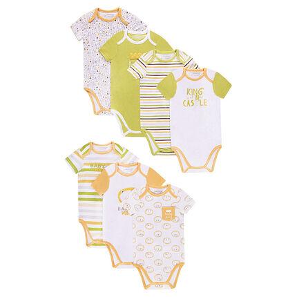 Lot de 7 bodies manches courtes en jersey avec prints et motifs fantaisie