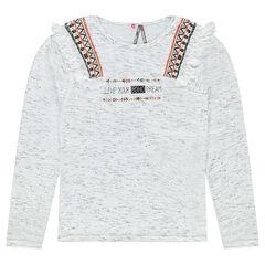 Junior - Tee-shirt manches longues avec print ethnique et franges