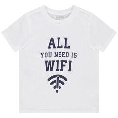 T-shirt manches courtes en coton bio avec message printé