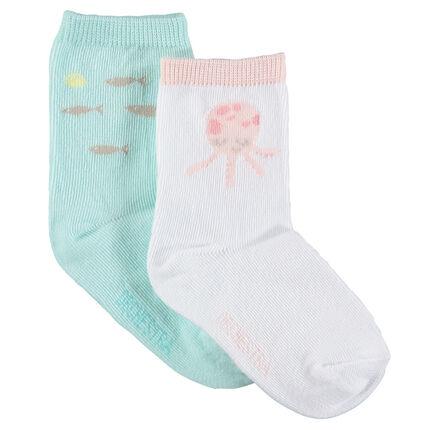 Lot de 2 paires de chaussettes assorties avec motifs thème aquatique