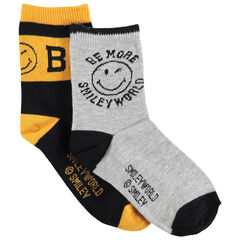 Junior - Lot de 2 paires de chaussettes assorties motif Smiley