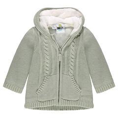 Veste en tricot à capuche doublée sherpa motif ©Smiley