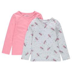 0ef25e1149987 Lot de 2 tee-shirts manches longues en jersey imprimé licornes uni