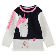 Pull en tricot avec licorne en jacquard et crinière à franges
