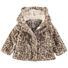Manteau en fausse fourrure léopard avec oreilles sur la capuche