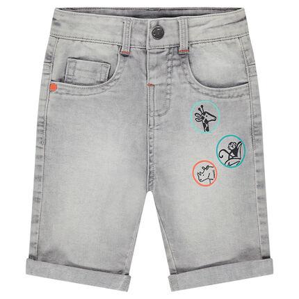 82b10e983a77e Bermuda en jeans effet used avec prints forme badges - Orchestra FR