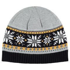 Bonnet en tricot doublé sherpa avec motif jacquard fantaisie f2cad33df7f