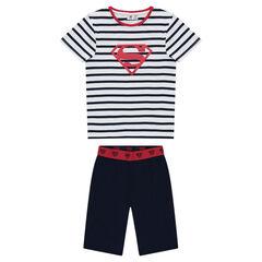 Pyjama court en jersey avec bermuda uni et haut rayé print ©Warner Superman