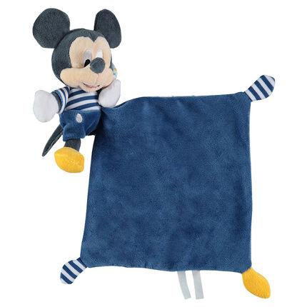 Doudou plat avec peluche Mickey