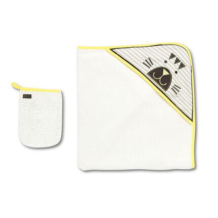 Cape et gant de toilette avec tête de tigre brodée