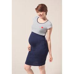 Robe de grossesse et d'allaitement manches courtes à rayures et coeur printé