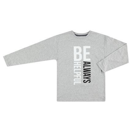 Tee-shirt manches longues gris avec texte printé