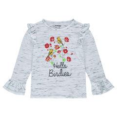 Tee-shirt manches courtes avec print floral et volants