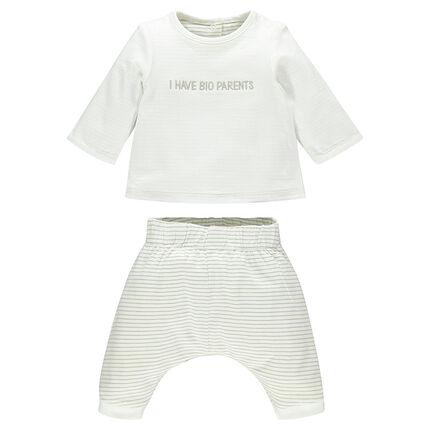 Ensemble tee-shirt manches longues et pantalon réversible en coton bio