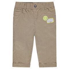 Pantalon en velours côtelé avec badges animaux