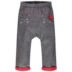 Pantalon en maille fantaisie à poches forme chat et noeud