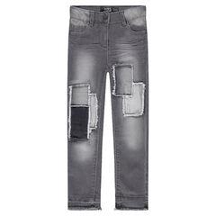 Jeans slim à patchs et franges effet used