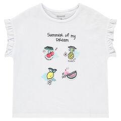 Tee-shirt manches courtes avec fruits patchés et manches volantées