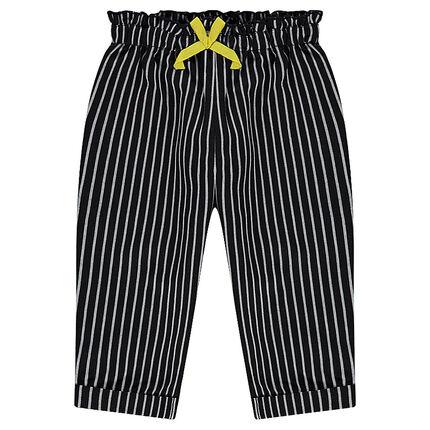 Pantalon à rayures verticales et taille smockée