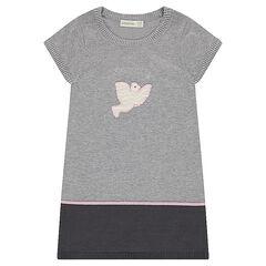 Robe manche courtes en tricot avec oiseau patché sur le devant