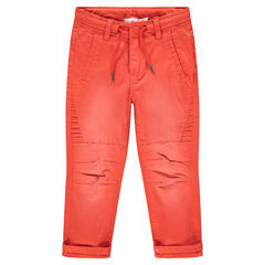 Pantalon en coton surteint orange effet used