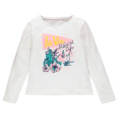 Tee-shirt manches longues print fantaisie pailleté