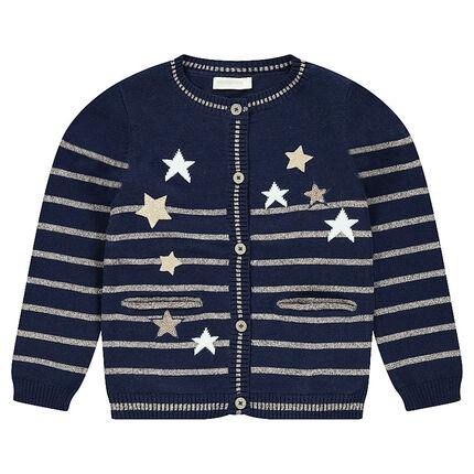 Gilet en tricot avec rayures dorées placées et étoiles pailletées