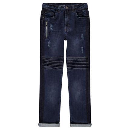 Junior - Jeans effet used et crinkle avec poche zippée et surpiqûres