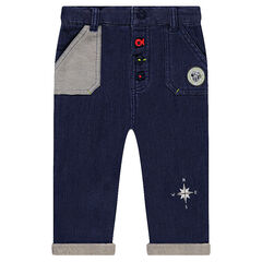 Pantalon en molleton effet jeans Disney avec badge Mickey