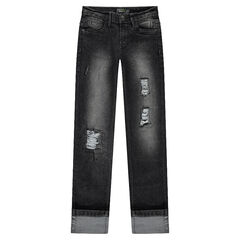 Junior - Jeans coupe slim effet used avec déchirures fantaisie